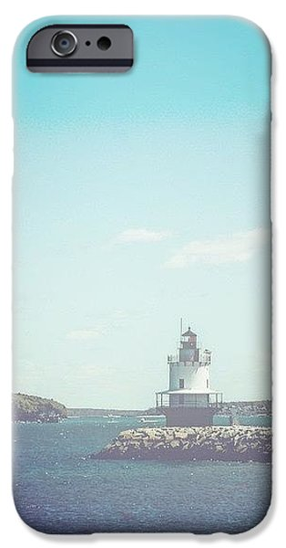 New England Lighthouse iPhone Cases - Clear Day at Casco Bay iPhone Case by Victory  Designs