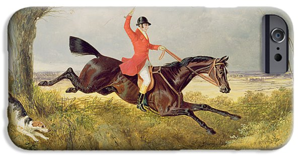 Dog Running. iPhone Cases - Clearing a Ditch iPhone Case by John Frederick Herring Snr
