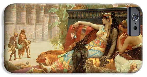 Cushion iPhone Cases - Cleopatra Testing Poisons on Those Condemned to Death iPhone Case by Alexandre Cabanel