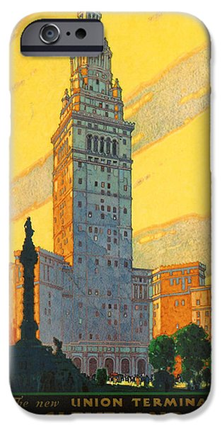 Cleveland iPhone Cases - Cleveland - Vintage Travel iPhone Case by Nomad Art And  Design
