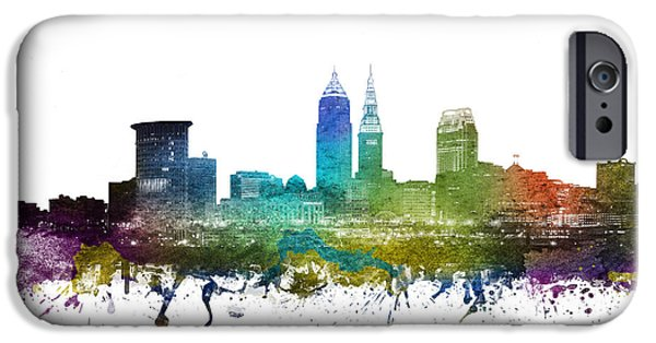 Colour Drawings iPhone Cases - Cleveland Cityscape 01 iPhone Case by Aged Pixel