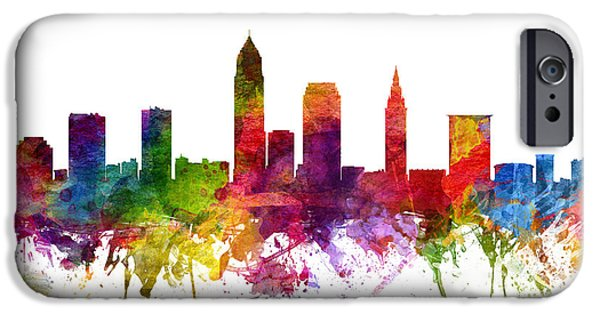Down Town iPhone Cases - Cleveland Cityscape 06 iPhone Case by Aged Pixel