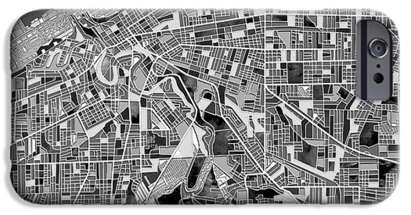 Recently Sold -  - Abstract Digital iPhone Cases - Cleveland map black and white iPhone Case by MB Art factory