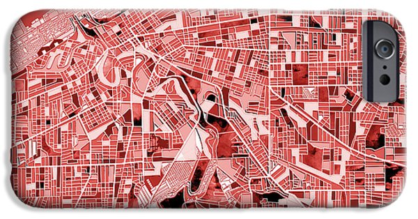 Abstract Digital Art iPhone Cases - Cleveland map red iPhone Case by MB Art factory