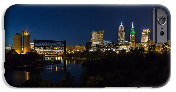 Buildings iPhone Cases - Cleveland Nightscpae Panoramic iPhone Case by Dale Kincaid