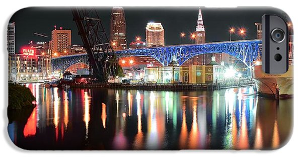 Chicago iPhone Cases - Cleveland Ohio in Black and Color iPhone Case by Frozen in Time Fine Art Photography