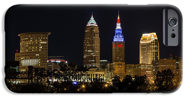 Buildings iPhone Cases - Cleveland Red White and Blue iPhone Case by Dale Kincaid