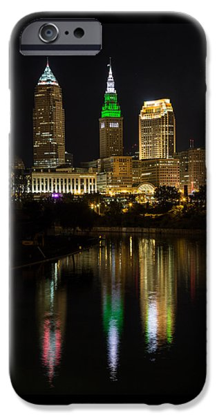 Buildings iPhone Cases - Cleveland Reflections iPhone Case by Dale Kincaid