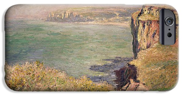 Calm Paintings iPhone Cases - Cliff at Varengeville iPhone Case by Claude Monet
