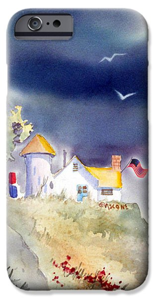 July 4th iPhone Cases - Cliff Cottages with Flag iPhone Case by Teresa Ascone