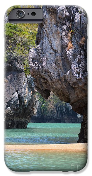 Overhang iPhone Cases - Cliffs and calm Waters iPhone Case by Moira Rowe