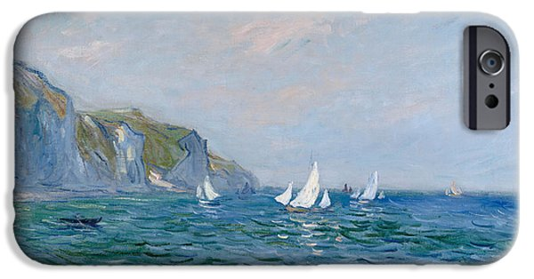 Sailing Paintings iPhone Cases - Cliffs and Sailboats at Pourville  iPhone Case by Claude Monet