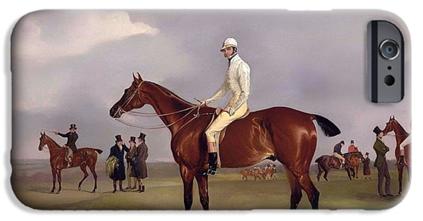 Horse Racing iPhone Cases - Clinker With Captain Horatio Ross Up iPhone Case by John Fernely