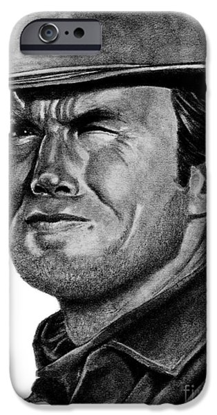 Dirty Drawings iPhone Cases - Clint Eastwood iPhone Case by Bill Richards