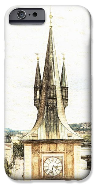 Charles River iPhone Cases - Clock Tower iPhone Case by Diane Macdonald
