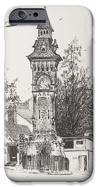 Ink On Paper iPhone Cases - Clock Tower  Hay on Wye iPhone Case by Vincent Alexander Booth