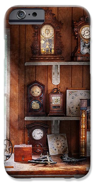 Clocksmith - In the Clock Repair Shop iPhone Case by Mike Savad