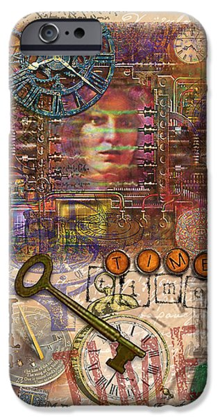 Circuit Mixed Media iPhone Cases - Clockworks iPhone Case by Ernestine Grindal