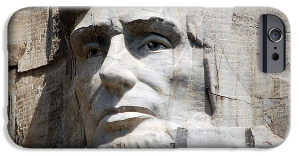 President iPhone Cases - Close Up of President Abraham Lincoln on Mount Rushmore South Dakota iPhone Case by Shawn O