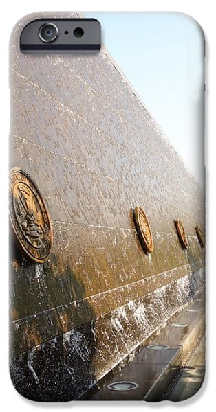 Soldier Field iPhone Cases - Close-Up of Soldier Field Memorial Water Wall Chicago iPhone Case by Cynthia Woods