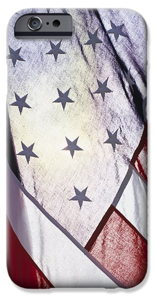 American Flag iPhone Cases - Close-up Of Stars And Stripes On Flag iPhone Case by Gillham Studios