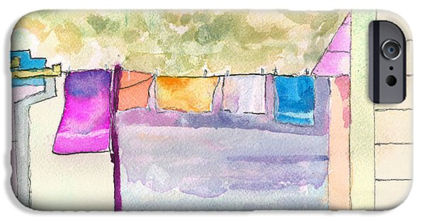Pastel iPhone Cases - Clothes on the Line iPhone Case by Paul Thompson