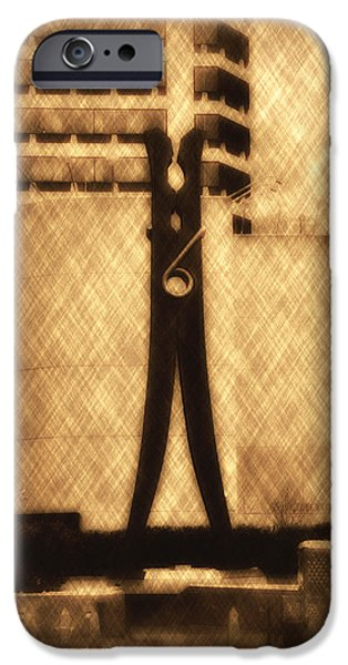 Clothes Pin Statue - Philadelphia iPhone Case by Bill Cannon
