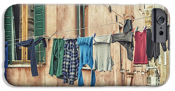 Canal Street Line iPhone Cases - Clothes to dry iPhone Case by Patricia Hofmeester