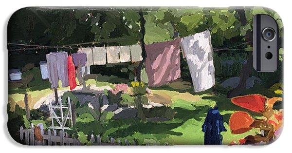 Sheets iPhone Cases - Clothesline and Coleus in an East Gloucester  MA Garden  iPhone Case by Melissa Abbott