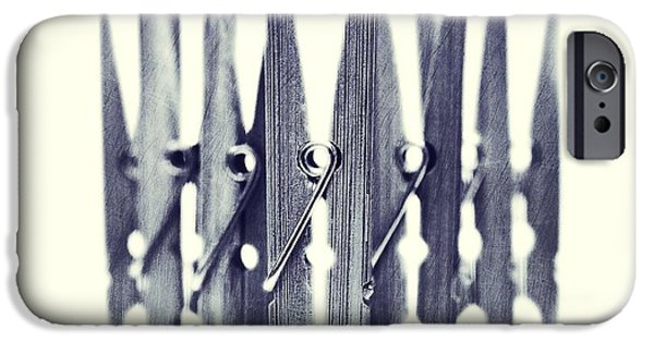 Still Life Photographs iPhone Cases - Clothespin iPhone Case by Priska Wettstein