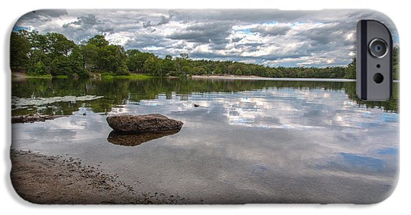 Boston Ma iPhone Cases - Cloud Reflections at Houghtons Pond iPhone Case by Brian MacLean