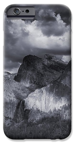 Cathedral Rock iPhone Cases - Clouds Over Bridal Veil Falls iPhone Case by Bill Roberts