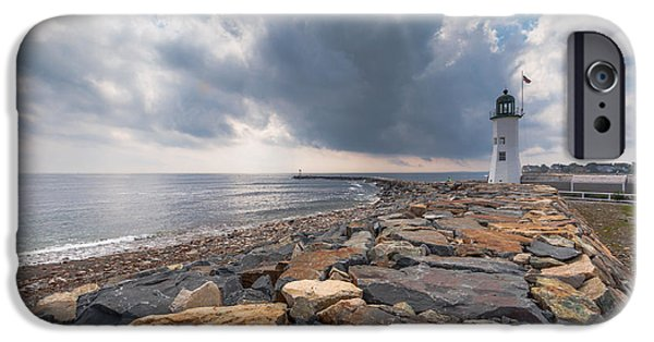New England Lighthouse iPhone Cases - Clouds over Old Scituate Light iPhone Case by Brian MacLean