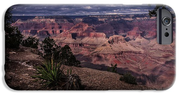 Grand Canyon Pyrography iPhone Cases - Clouds over the Grand Canyon iPhone Case by Rick Strobaugh