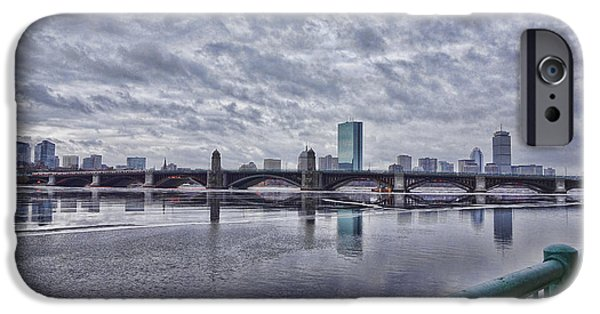 Charles River iPhone Cases - Cloudy Back Bay iPhone Case by JD Moore