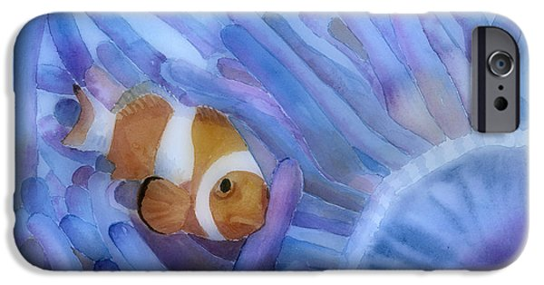 Ocean Creatures iPhone Cases - Clownfish And The Sea Anemone iPhone Case by Arline Wagner
