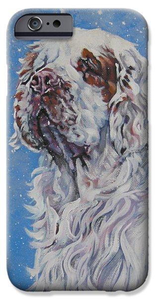 Clumber Spaniel in Snow iPhone Case by Lee Ann Shepard