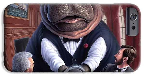 Hippopotamus iPhone Cases - Clumsy iPhone Case by Jerry LoFaro