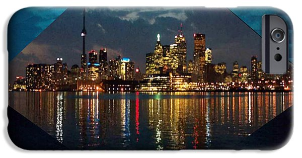 Business iPhone Cases - CN  Tower and Toronto Down Town Water Front beauty at night Hexagon Poster  iPhone Case by Navin Joshi