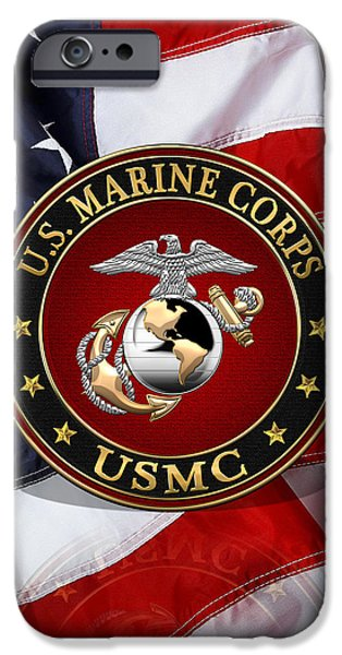 Marine Corps Digital iPhone Cases - C O and Warrant Officer E G A Special Edition over American Flag  iPhone Case by Serge Averbukh