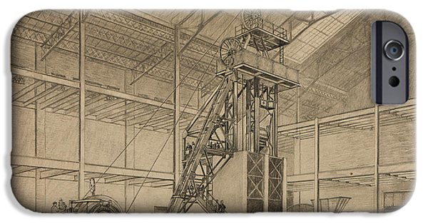 Detailed Drawings iPhone Cases - Coal Mine Hoist iPhone Case by Percy Hale Lund