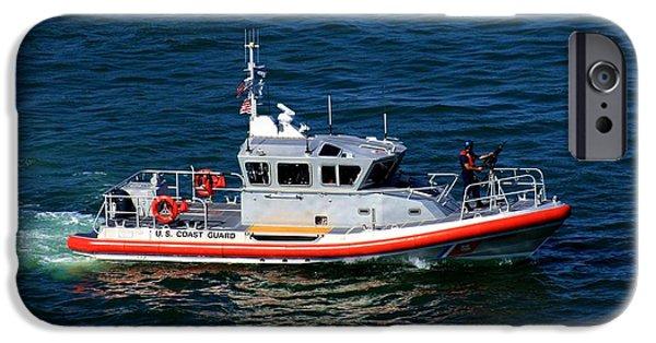 Law Enforcement iPhone Cases - Coast Guard on Patrol iPhone Case by Robert Wilder Jr