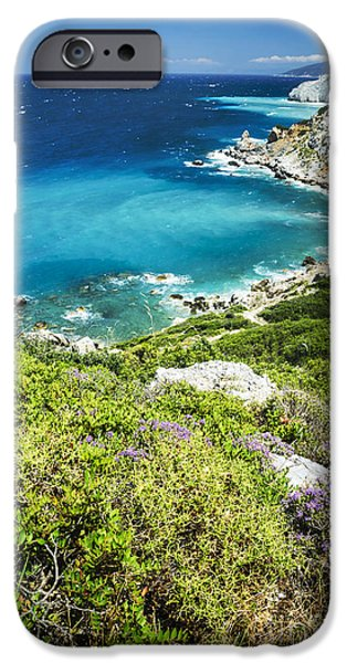 Beach Pyrography iPhone Cases - Coast of Greece iPhone Case by Jelena Jovanovic