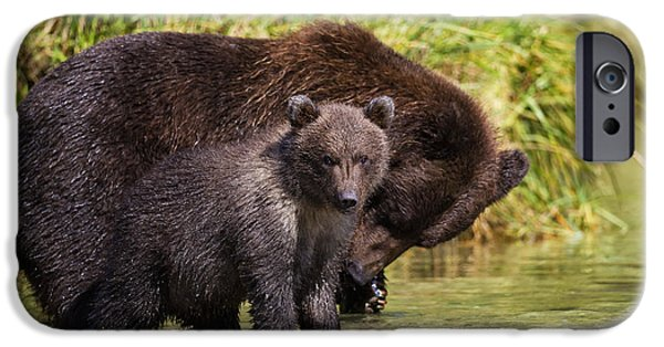 Bonding iPhone Cases - Coastal Brown Bear And Cub Fishing iPhone Case by Marion Owen