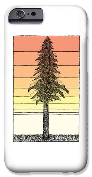 California iPhone Cases - Coastal Redwood Sunset Sketch iPhone Case by Hinterlund