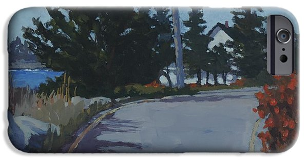 Maine Roads Paintings iPhone Cases - Coastal Road iPhone Case by Bill Tomsa