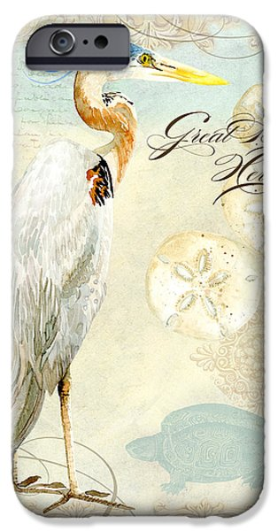 Heron Paintings iPhone Cases - Coastal Waterways - Great Blue Heron 3 iPhone Case by Audrey Jeanne Roberts