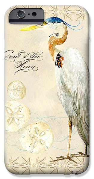 Heron Paintings iPhone Cases - Coastal Waterways - Great Blue Heron iPhone Case by Audrey Jeanne Roberts