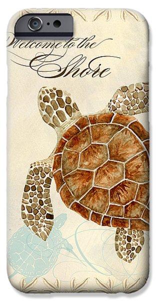 Ocean Turtle Paintings iPhone Cases - Coastal Waterways - Green Sea Turtle iPhone Case by Audrey Jeanne Roberts