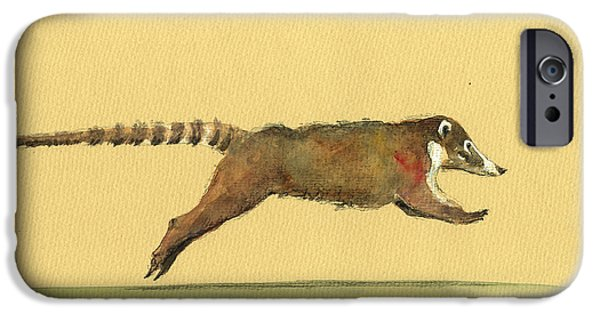 Running iPhone Cases - Coati coatimundi animal drawing iPhone Case by Juan  Bosco
